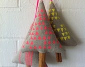 Set of 3 Neon Linen Christmas Ornament, Decoration, handprint, holidays, stocking stuffer, pink yellow