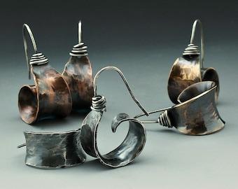Hooop Earrings, Silver Earrings, Red Brass Earrings, Copper Earrings, Dangle Earrings, Mixed Metal Earrings, Metalsmith, Organic Style