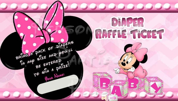 Baby Minnie Mouse Diaper Raffle Ticket for baby showers