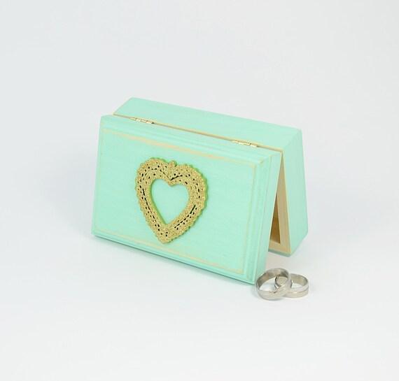 Wedding  Ring Bearer Boxes, Mint Green Engagement Ring Box, Distressed Ring Gold Glitter Heart Bearer Box, Pillow Alternative