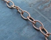 Solid raw Copper 5.4mm Patterned Oval Cable Chain - By the foot