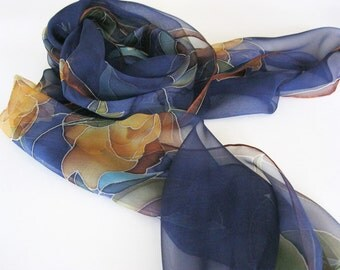 Blue silk chiffon scarf hand painted floral Women gift - made TO ORDER