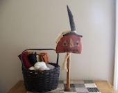 Tall Primitive Grungy Jack-O-Lantern Bobbin Halloween Fall Decor