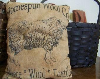 Primitive Logo Homespun Wool Co. Feedsack Logo Pillow