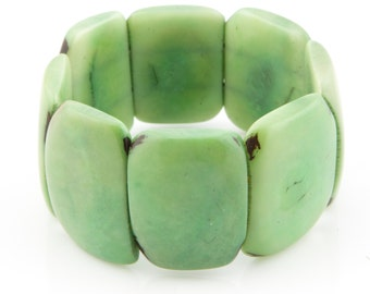 SALE 30% Off / Tagua Nut Bracelet / Tagua Jewelry / Tagua Nut / Statement Bracelet / Seed Jewelry / Fair Trade / Greenery Green Bracelet