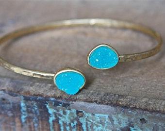 Turquoise Druzy Cuff Bracelet