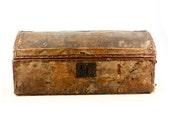 SALE Vintage Fur and Leather Barrel Top Trunk // Rustic // Primative Decor