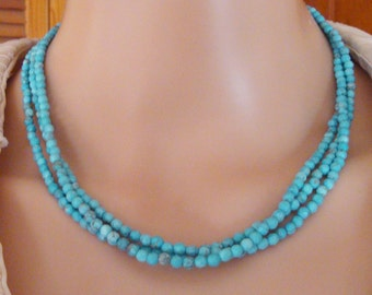 """Turquoise 4mm Round Faceted Gemstone Beaded 16"""" 3-Strand Necklace"""