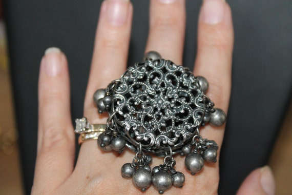 Vintage Cocktail Ring by Christian Dior, dark silver metal, filigree, dangles, signed, huge and wonderful, rare find.