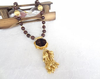 Brown Agate Necklace, Stones Necklace, Brown Agate Pendant, Necklace in Brown, Gold Jewelry, OOAK Jewelry