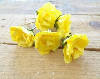 Sunshine Yellow Flower Wedding Hair Pins,  Bridal Hair Pins, Hair Accessories, Fabric Hair Pins, Bridesmaid Hair, Woodland - Set of 6