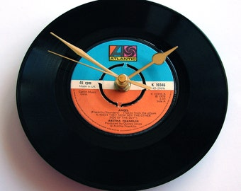 "Aretha Franklin Vinyl Record CLOCK ""Angel"" vintage vinyl 7"" single Orange and Blue Atlantic label Mothers day Engagement Romantic Gift women"