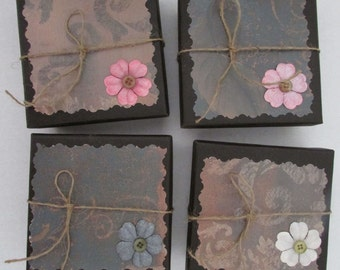 large jewelry trinket gift boxes flower vintage set of 4 boxes 4x4x1.5 romantic bridal bracelet necklace