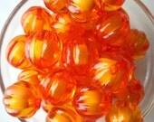 Orange Pumpkin Beads, 6 pcs, 22mm Transparent Ridged Bead, Acrylic, Bead in Bead, Corrugated Beads, Melon Bead, Gumball Bead, Bubblegum Bead
