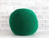 Medium Pouf, Paddy Green Crochet Floor Pillow