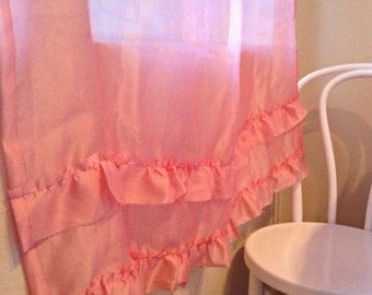 Sheer Pink Silk Curtains with Ruffles