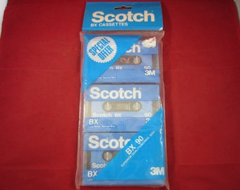 Vintage 3 SCOTCH BX 90 SEALED Blank Audio cassette Tapes New old Stock