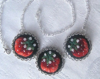 Embroidered necklace, embroidered jewelry, lovely hand embroidered pendant necklace with strawberries.