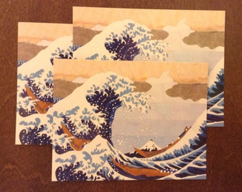 Set of Three Hokusai's Wave Paper Mosaic Postcards