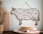Wall decor for your kitchen COW  Meat cutting chart useful wall decoration // FREE SHIPPING