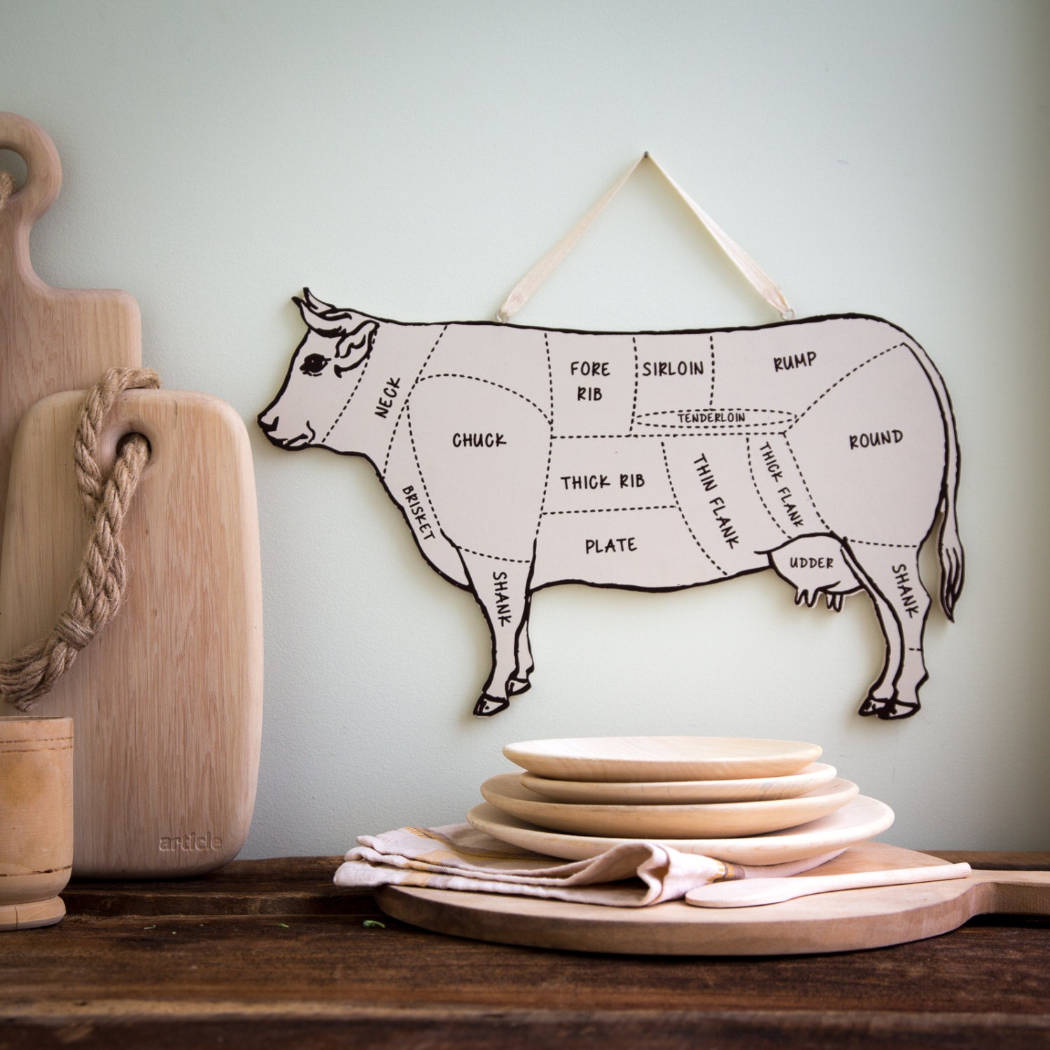 Wall Decor For Your Kitchen COW Meat By DesignAtelierArticle
