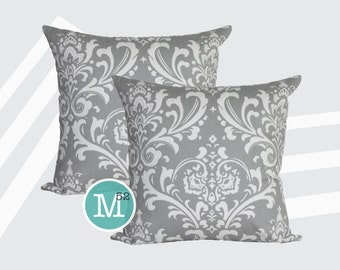 Grey Damask Pillow Covers Shams - 18 x 18, 20 x 20 and More Sizes - Zipper Closure- dc1820