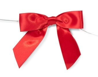 """Red 3"""" Pre-Tied Satin Bows with 5"""" Twist Ties~ 7/8"""" ribbon- Pack of 6"""