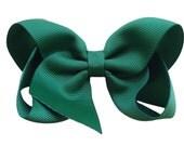 4 inch dark green hair bow - dark green bow, forest green bow, boutique bows, girls hair bows, girls bows, green hair bows, toddler bows