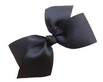 Two loop black hair bow - black bow, 4 inch bows, boutique bows, girls hair bows, toddler bows, girls bows, black hair bows