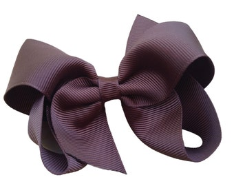 4 inch brown hair bow - brown bow, brown boutique bow