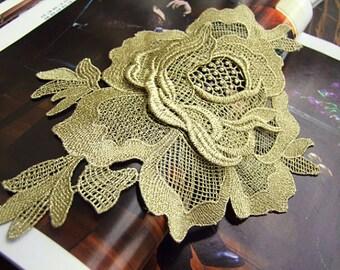 gold lace applique, gold lace trim, gold rose applique,3D Luxury Rosette Applique for Costume Design Altered Couture