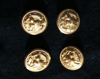 set of 4 golden buttons 6 large 4 small beautiful anker design upcycled from Wool sweater knitting supply sewing supply