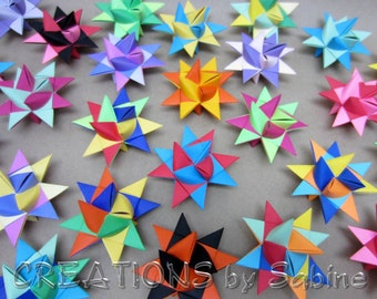 Party Decoration 12 Paper Stars Multi Colored Colorful 3D Celebration Hanging Table Shower Decor Origami Froebel Star Guest Gift Favors II