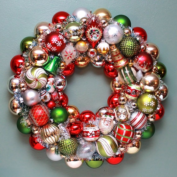 Vintage christmas ball wreath mercury glass