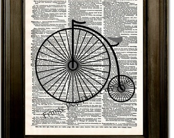 Penny Farthing Bike Art Print 8 x 10 Dictionary Page - High Wheel Bike - Victorian - Bicycle
