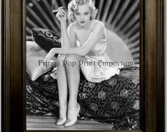 Flapper Smoking Art Print 8 x 10 - Art Deco - Jazz Age - 1920's - Glamorous - Pin Up