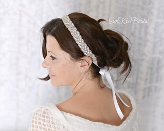 ELLE Braided Crystal Bridal Headband, Rhinestone Wedding Headpiece