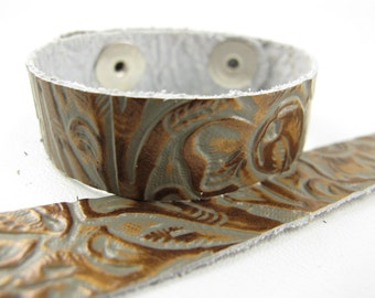 "Tooled Grey Copper Leather Cuff Bracelet 5/8"" Wide, #57-85841613"