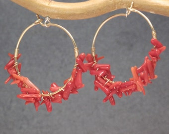 Hammered hoops wrapped with Red Coral Cleopatra 35