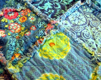 Rag Blanket, Adult Teen or Child's Quilt - All Blue
