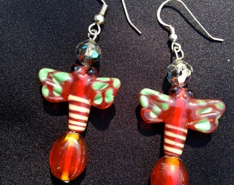 Glass Butterfly Earrings - Red with Green