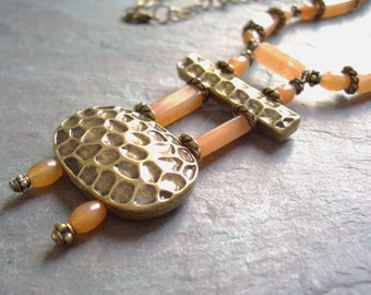 """Carnelian Necklace / Orange / Antique Brass / Bead / Stone / Chain / Hammered / Knot - 20"""" long - N32"""