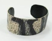 Black Leather Spring Cuff Bracelet for Women, Genuine Frog Exotic Bracelet, Halloween Idea - MargaretVera