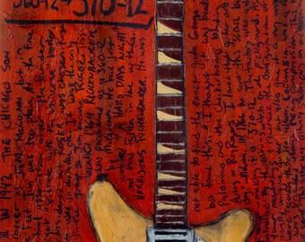 Roger McGuinn Rickenbacker 12 string electric guitar 370-12 guitar art print. The Byrds