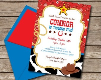 INSTANT DOWNLOAD, Cowboy, Rodeo, Western, Birthday Boy 5 x 7 Printable Invitation, You Edit Yourself in Adobe Reader