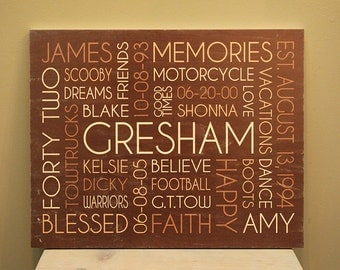 8x10 Wood Photo Board featuring Your Words, Your Colors, Your Story - Great for Family, Wedding & Baby