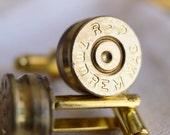 Bullet cufflinks 7mm Remington MAG gold tone backings deer hunting rifle gun groomsmen wedding cuff links men
