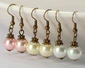 Vintage Style Pearl Bridesmaid Earrings, Pink Bridal Dangle Earrings, Bridesmaid Earrings, Ivory Bridal Earrings, White Bridal Earrings
