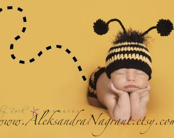BUMBLE BEE -  Photo Prop  - Baby Hat and Diaper Cover - acrylic  - Made To Order