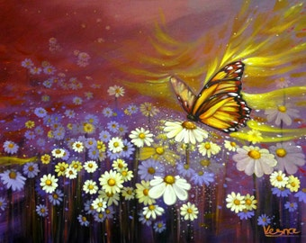 """SOLD ! A Butterfly Kiss - 24""""X36"""" Acrylic On Canvas"""